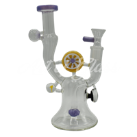 """Picture of 8"""" PINWHEEL RIG w/ FLOWER & GALAXY MARBLES"""