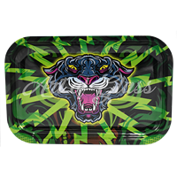 """Picture of MEDIUM BLACK PANTHER ROLLING TRAY 7""""x11"""""""