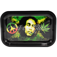 """Picture of MEDIUM BOB MARLEY JAMAICAN FLAG ROLLING TRAY 7""""x11"""""""