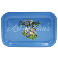 """Picture of MEDIUM LIGHT BLUE RICK & MORTY ROLLING TRAY 7""""x11"""""""
