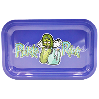 """Picture of MEDIUM PURPLE PICKLE RICK ROLLING TRAY 7""""x11"""""""