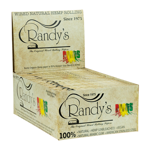 """Picture of RANDYS """"ROOTS"""" ORGANIC HEMP WIRED ROLLING PAPERS 77mm"""" (25ct)"""
