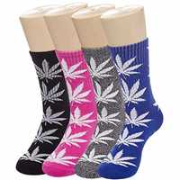 Picture of MULTI-COLOR MARIJUANA LEAF PRINTED COTTON HIGH SOCKS