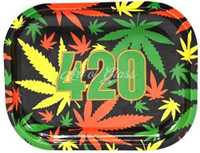 "Picture of SMALL 420 RASTA LEAF ROLLING TRAY 5""x7"""