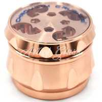 "Picture of 2.5"" CHROMIUM CRUSHER DRUM GRINDER w/ GIFT BOX - ROSE GOLD W/ CLEAR TOP"