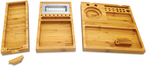 Picture of RAW TRIPLE FLIP BAMBOO ROLLING MAGNET TRAY