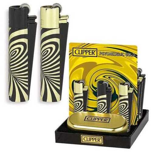 Picture of CLIPPER FULL METAL LIGHTER BLACK WITH GOLD SWIRLS - 12ct