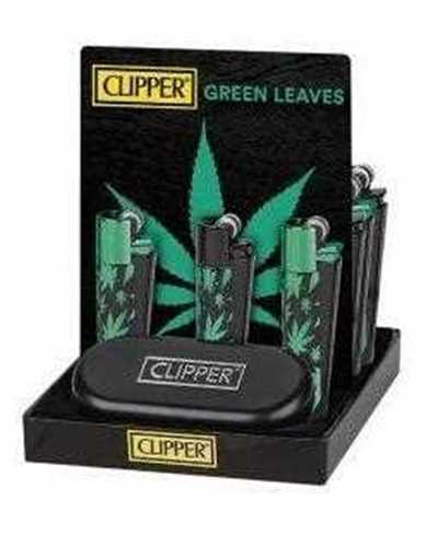 Picture of CLIPPER FULL METAL LIGHTER GREEN LEAVES  - 12ct