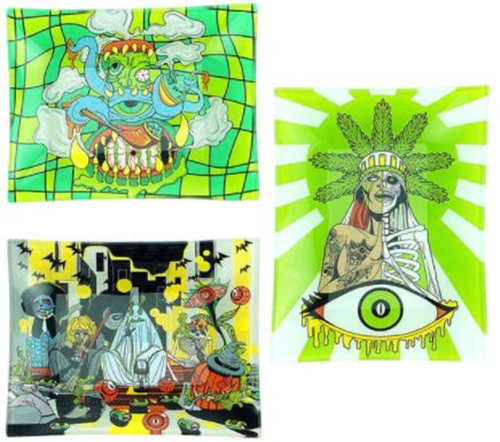 """Picture of 6.5"""" x 8"""" GLASS ROLLING TRAY w BOX"""