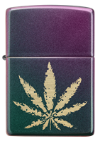 Picture of IRIDESCENT MARIJUANA LEAF ZIPPO LIGHTER