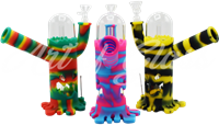 """Picture of 8"""" SILICONE & GLASS WATER PIPE w/ FACE DETAIL + NAIL"""