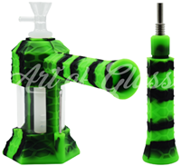 """Picture of 7"""" SILICONE & GLASS HONEYCOMB PATTERN WATER PIPE/ NECTAR COLLECTOR"""