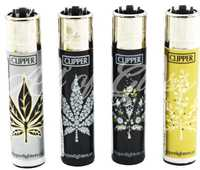 Picture of BLACK WHITE & GOLD LEAVES DESIGN CLIPPER LIGHTERS 48ct