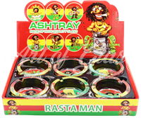 Picture of 6ct SMALL GLASS ASHTRAY - RASTA MAN