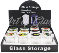 Picture of AIRTIGHT GLASS JAR w/ ASSORTED TOP STICKERS - 12ct DISPLAY