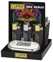 Picture of CLIPPER FULL METAL LIGHTER MEXICAN SKULLS - 12ct