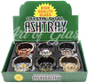 Picture of CRYSTAL SKULL GLASS ASHTRAY w/ SKULL DESIGNS - 6ct