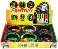 Picture of ROUND GLASS BOB MARLEY ASHTRAY - 6ct
