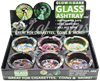 Picture of ROUND GLASS GLOW IN THE DARK SKULL ASHTRAY - 6ct
