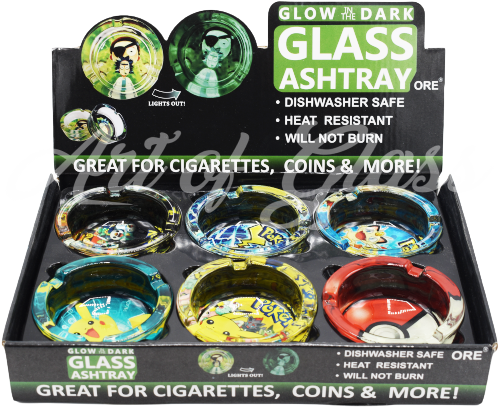 Picture of ROUND GLASS GLOW IN THE DARK CHARACTER ASHTRAY - 6ct