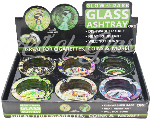 Picture of ROUND GLASS GLOW IN THE DARK R/M ASHTRAY - 6ct
