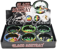 Picture of ROUND GLASS POT LEAF ASHTRAY - 6ct