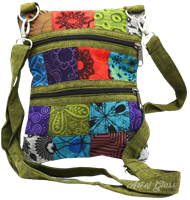 Picture of PATCHWORK CROSSBODY PURSE w/ DOUBLE ZIPPERS