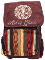Picture of MIXED PATTERN BACKPACK W/ EMBROIDERED DESIGN ON FLAP
