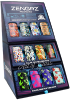 Picture of ZENGAZ LIGHTERS 48ct CUBE DISPLAY- ABSTRACT, SKULL & LEAF DESIGNS