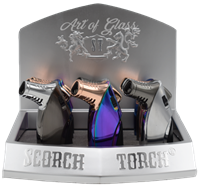 """Picture of 4"""" TRIPLE FLAME SCORCH TORCH w/ CIGAR CUTTER - 9ct DISPLAY (61537)"""