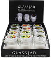 Picture of AIRTIGHT GLASS JARS w/ LATCH LID & STICKERS (12ct)