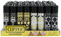 Picture of BLACK AND GOLD SUGAR SKULL DESIGN CLIPPER LIGHTERS 48ct
