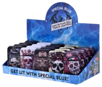 Picture of SPECIAL BLUE MINI BUTANE TORCH LIGHTER  - SKULLS AND ROSES - 20ct DISPLAY