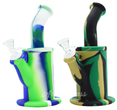 """Picture of 8"""" SILICONE BENT NECK FAT WATER PIPE - COLOR"""