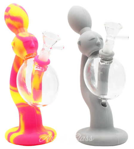 """Picture of 8"""" SILICONE MAN BLOWING BUBBLE WATER PIPE"""