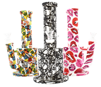 """Picture of 10"""" SILICONE STRAIGHT NECK FAT WATER PIPE - PRINT"""