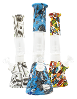 """Picture of 13"""" SILICONE AND GLASS BEAKER w/ SHOWERHEAD PERC"""